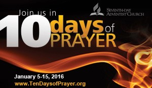 """We will be participating in the 10 Days of Prayer organized by the General Conference. January 5-15, 2016 we will be meeting from 7:00 PM-8:00 PM in the Chapel each evening. Our Prayer Theme is 'Abiding in Christ – Life More Abundant'. During the Ten Days of Prayer, we will be praying for the Holy Spirit to teach us how we can abide in Christ and receive """"Life more abundant."""" Read the 10 Days Of Prayer Introduction. The apostle Paul challenges believers to """"be filled with the Spirit"""" (Eph. 5:18), """"that He would grant you, according to the riches of His glory, to be strengthened with might through His Spirit in the inner man, that Christ may dwell in your hearts through faith…to know the love of Christ which passes knowledge; that you may be filled with all the fullness of God"""" (Eph. 3:16-19). For more details about the 10 Days of Prayer."""
